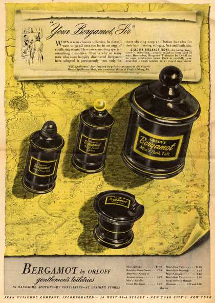 "Jean Vivadou Company, Incorporated's Bergamot Toiletries – ""Your Bergamot, Sir"" (1945)"