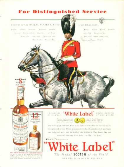 White Label Scotch Royal Scots Grey 2nd Dragoon (1938)