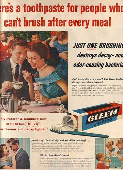 Gleem's Toothpaste with GL-70 (1955)