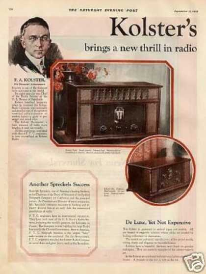 Kolster's Radio Color Ad 2 Page (1925)