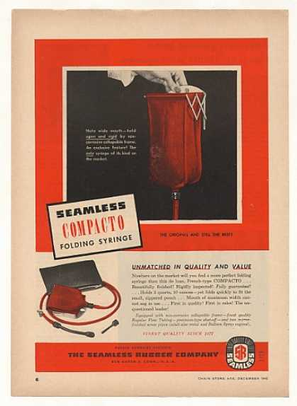 Seamless Rubber Compacto Folding Syringe Trade (1948)