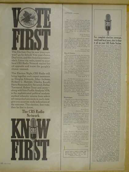 CBS radio network. Vote First know first (1964)