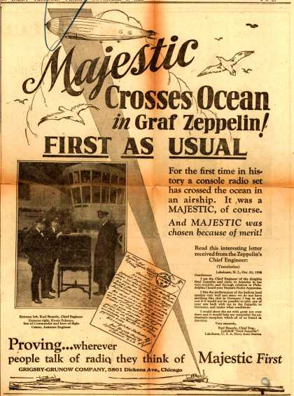 Grigsby-Grunow Company's Radio – corporation – Majestic Crosses Ocean in Graf Zeppelin! First As Usual (1928)