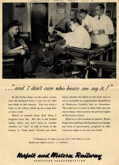 "Norfolk and Western Railway Precision Transportation's Freedom of Speech – ...""and I don't care who hears me say it!"" (1952)"