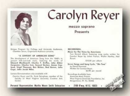 Carolyn Reyer Photo Soprano Ad Music (1970)