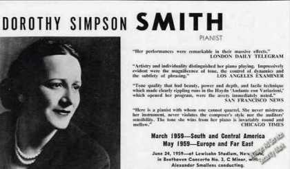 Dorothy Simpson Smith Photo Pianist Booking (1959)