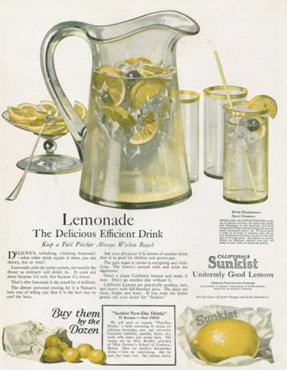 Sunkist, Lemonade Soft Drinks, USA (1920)