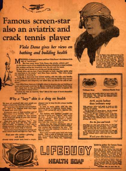 Lever Brothers Company's Lifebuoy Health Soap – Famous screen-star also an aviatrix and crack tennis player. Viola Dana gives her views on bathing and building health. (1930)