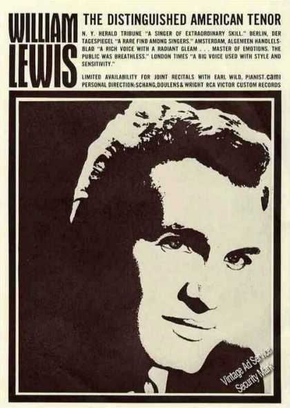 William Lewis, Tenor Collectible Booking (1963)