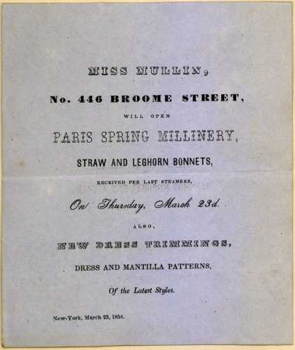 Miss Mullin, seamstres's Millinery, straw & leghorn bonnets – Paris Spring Millinery (1854)