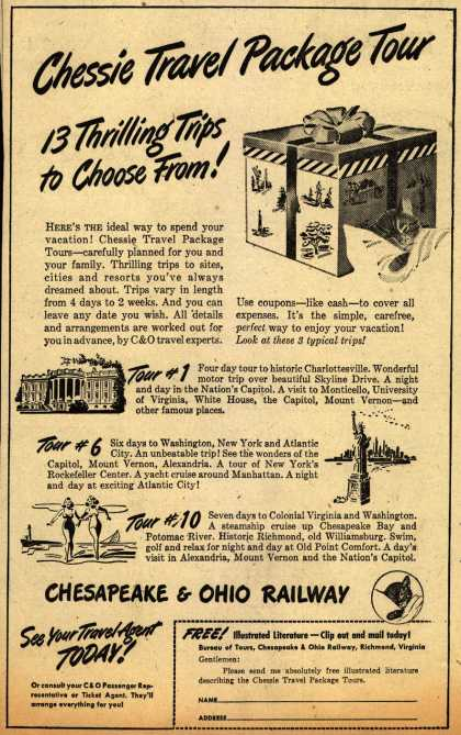 Chesapeake and Ohio Railway's Package Tours – Chessie Travel Package Tour. 13 Thrilling Trips to Choose From (1945)