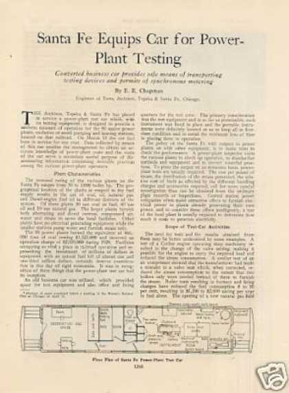 """Santa Fe Car for Power Plant Testing"" Article (1929)"