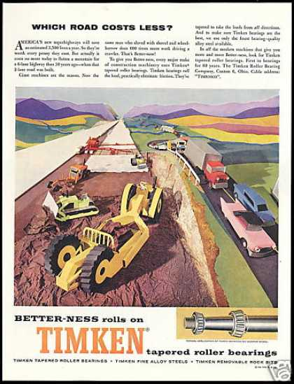 Tractor Scraper Heavy Equipment Road Art Timken (1959)