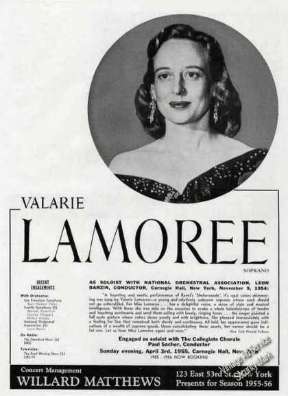Valarie Lamoree Photo Soprano Soloist (1955)