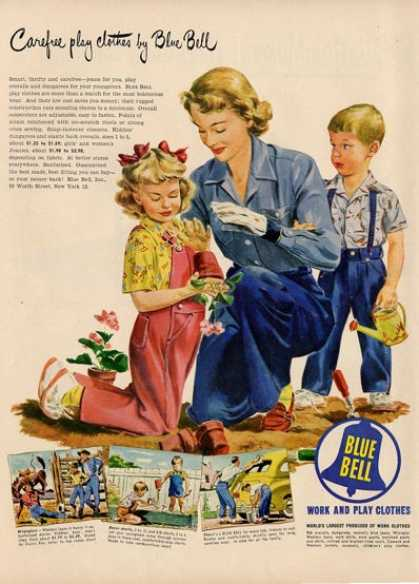 Blue Bell Clothing Gardening Mom Girl Ad T (1949)