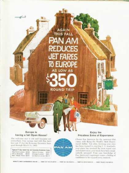 Pan American Airlines Ad English Countryside (1961)