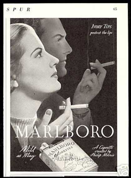 Marlboro Cigarettes Ivory Tips Couple Photo (1938)