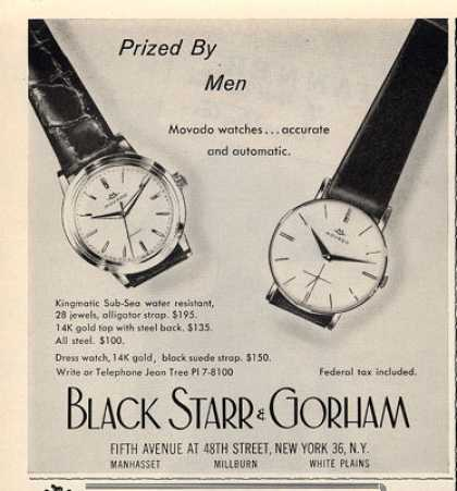 Black Starr Gorham Movado Kingmatic Watch (1960)