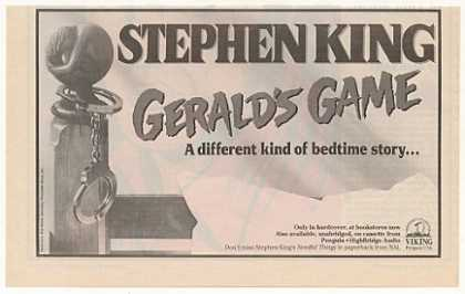 Stephen King Gerald's Game Viking Penguin Book (1992)