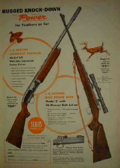 Sears Higgins shotgun and rifles Rugged knock down power (1956)