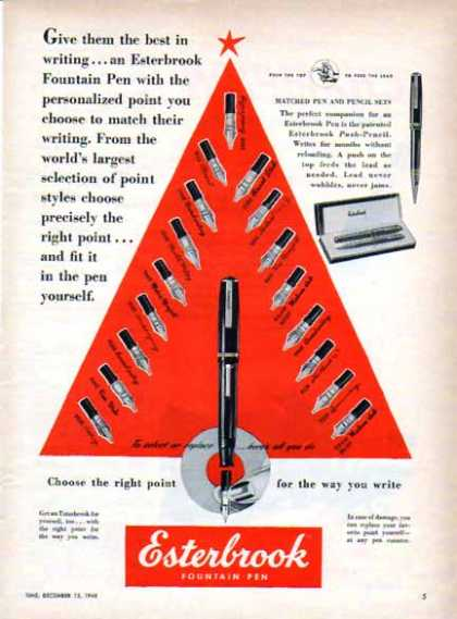 Esterbrook Pen Christmas – Choose The Right Point (1948)