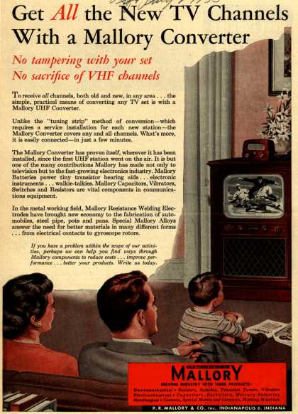 P.R. Mallory & Co.'s Mallory UHF Converter – Get All the New TV Channels With a Mallory Converter (1953)