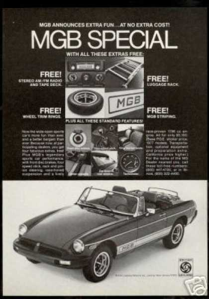 MGB Special Sports Car Free Extras MG Car (1977)