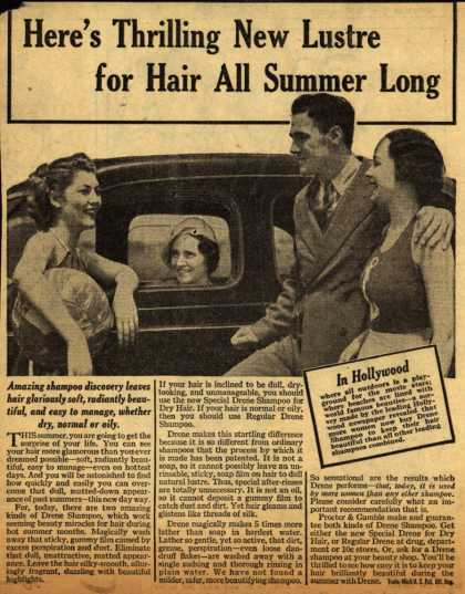Procter & Gamble Co.'s Drene Shampoo – Here's Thrilling New Lustre for Hair All Summer Long (1938)