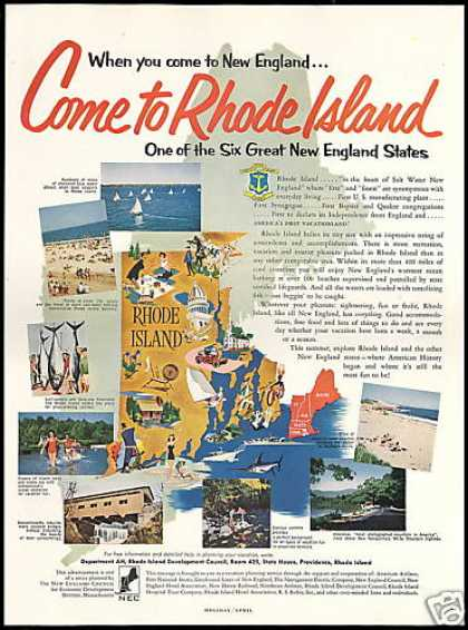 New England Rhode Island Vintage Travel (1955)