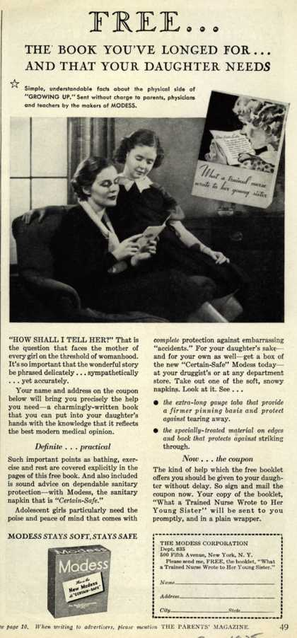 Modes's Sanitary Napkins – Free...The Book You've Longed For...And That Your Daughter Needs (1935)