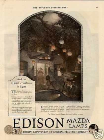 Edison Mazda Lamps Color Ad Norman Rockwell Art (1920)