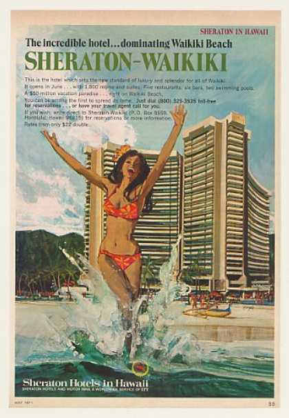 Sheraton Hotel Waikiki Beach Hawaii (1971)
