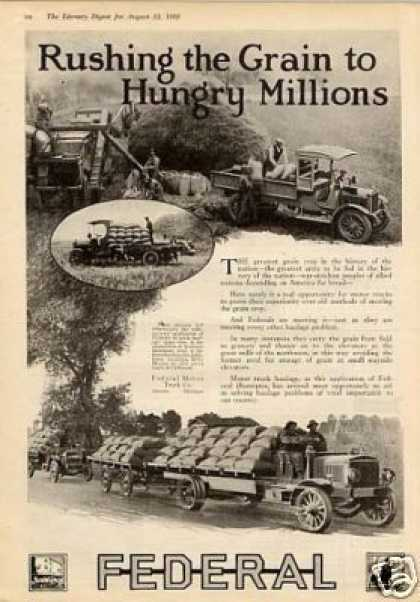 """Federal Truck Ad """"Rushing the Grain... (1918)"""
