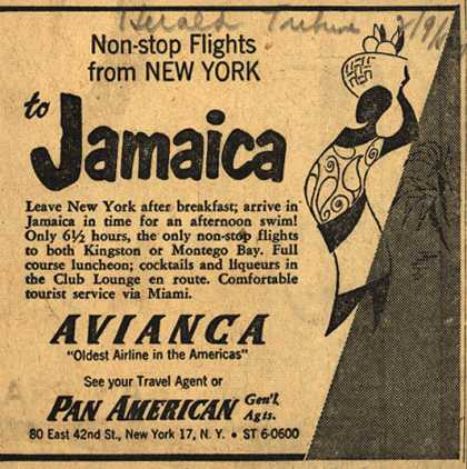 Avianca's Jamaica – Non-Stop Flights From New York to Jamaica (1954)