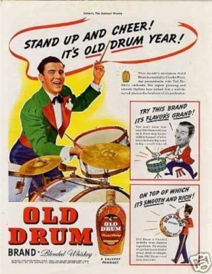 "Old Drum Whiskey Ad ""Stand Up and Cheer... (1938)"
