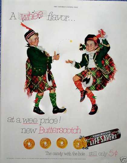 Life Savers Candy Scottish Kilts Kids Whee Flavor (1952)