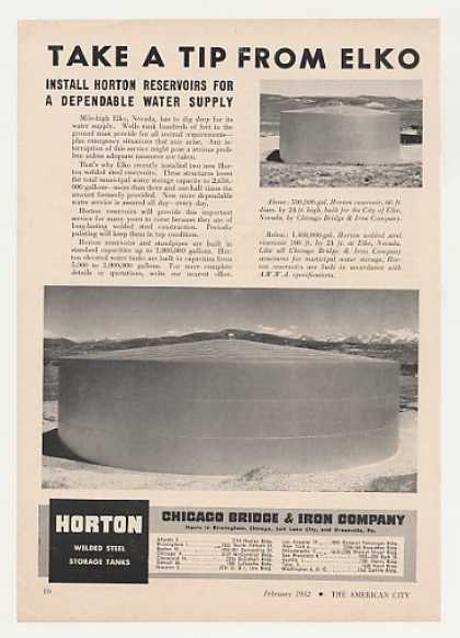 Elko Nevada Horton Water Reservoir Photo (1952)
