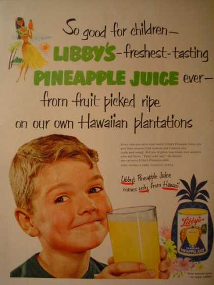 Libby's Pineapple Juice Hawaii Plantations (1952)
