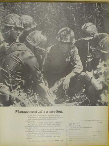 US Army OCS. Management calls a meeting. Infantry theme (1968)