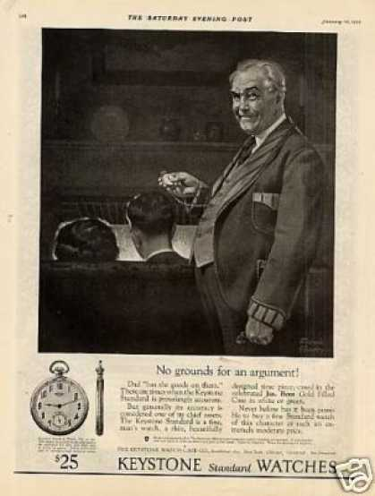 Keystone Pocket Watch Ad Frederic Stanley Art (1925)