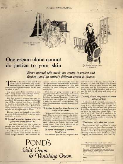 Pond's Extract Co.'s Pond's Cold Cream and Vanishing Cream – One cream alone cannot do justice to your skin (1921)