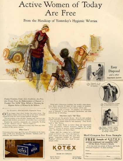 Kotex Company's Sanitary Napkins – Active Women of Today Are Free (1927)
