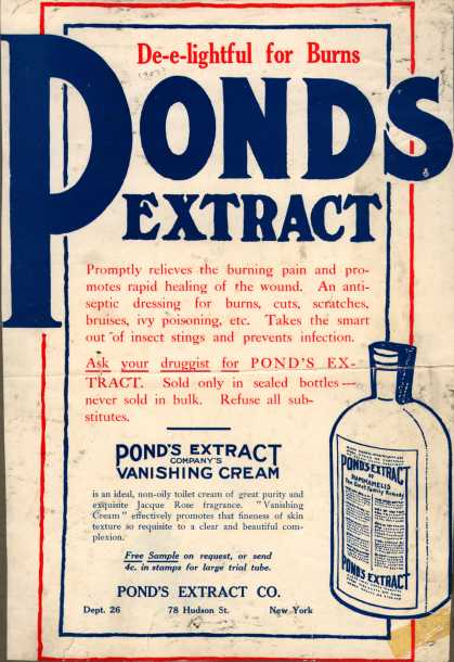 Pond&#8217;s Extract Co.&#8217;s Pond&#8217;s Extract &#8211; De-e-lightful for Burns. Pond&#8217;s Extract. (1907)