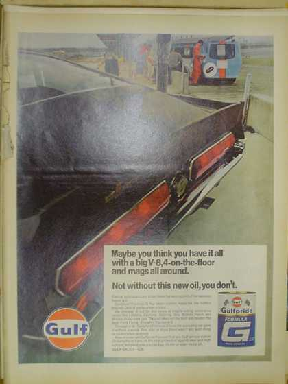 Gulf Gulfpride oil. Mustang big V8, 4 on the floor (1968)