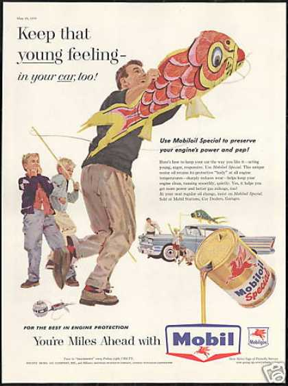 Fish Kite Flying Mobil Oil Gas Vintage (1958)
