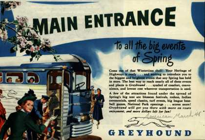 Greyhound's Spring Travel – Main Entrance (1948)