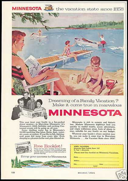 Minnesota Vacation State Vintage Travel (1958)