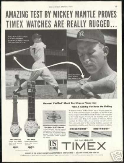 Mickey Mantle 2 Photo Baseball Timex Watch (1953)