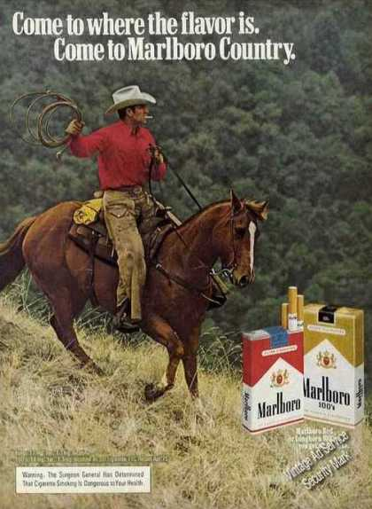 Marlboro Cowboy On Horse With Lariat (1976)