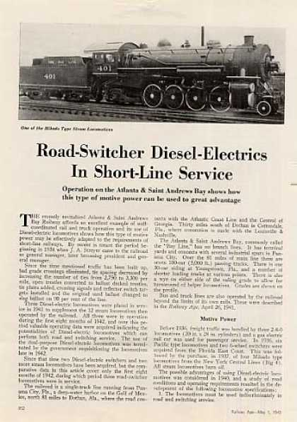 """Road Switchers In Short-line Service""Article (1943)"